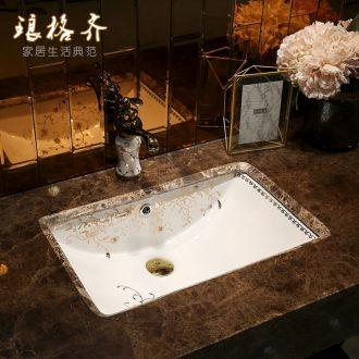 Koh larn neat square art undercounter ceramic lavabo single household embedded lavatory basin of European toilet