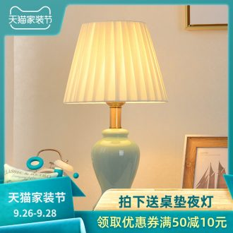 American contracted ceramic desk lamp bedroom luxury Nordic ins teenage web celebrity romance marriage bedside lamp
