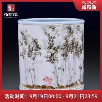 Jingdezhen ceramic hand-painted bamboo vase decoration household decorates sitting room study flower arranging four pen container furnishing articles
