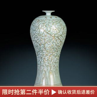 Jingdezhen ceramic vase famous paint shadow carving greengage bottles of Chinese style porch decoration furnishing articles large living room