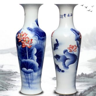 Jingdezhen hand-painted every year more than lotus sitting room of large vases, Chinese style household decorative ceramic large-sized furnishing articles