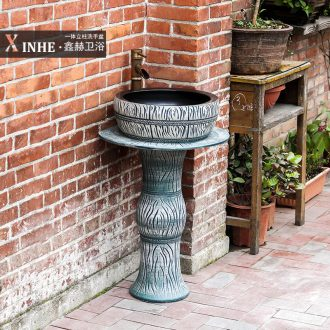 Ceramic column basin household outdoor art one outdoor balcony toilet floor type washs a face basin sink