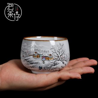 Tea seed, jingdezhen kiln manual pure hand-painted ceramic masters cup kung fu tea cup sample tea cup but small tea cups