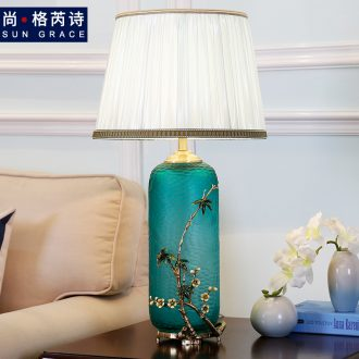 American whole copper colored enamel lamp light continental warm sitting room adornment of bedroom the head of a bed Chinese ceramic creative and romantic
