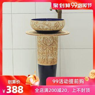 The rain spring basin of jingdezhen ceramic column balcony sink pillar basin art toilet lavatory 1 of the basin that wash a face