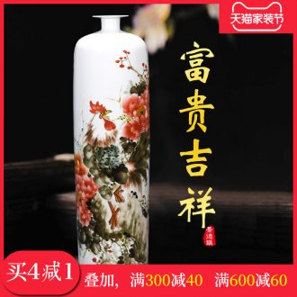 Jingdezhen ceramics hand-painted enamel vase riches and honour auspicious Chinese style living room home decoration Angle of several big furnishing articles
