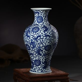 Jingdezhen ceramic blue and white porcelain vase furnishing articles antique hand-painted bound branch lotus mesa of Chinese style living room decoration decoration
