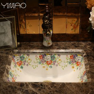 Million birds undercounter lavabo embedded household square ceramic lavatory toilet stage basin that wash a face basin