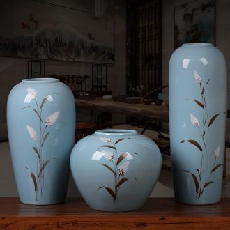 Jingdezhen ceramic modern new Chinese style three-piece vases, flower arranging place to live in the sitting room porch zen ornaments