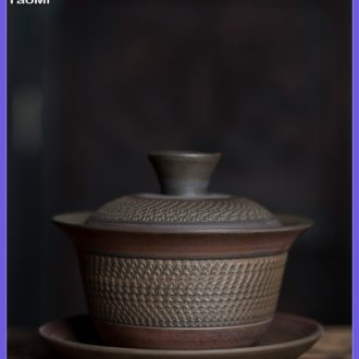 Tao fan yunnan jianshui purple clay only three tureen tea cups jump cut domestic tea bowl ceramic tea set a single hand