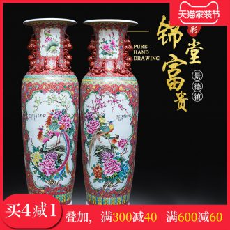 Jingdezhen ceramics hand-painted kam tong wealth of large vases, Chinese style living room decoration villa large furnishing articles