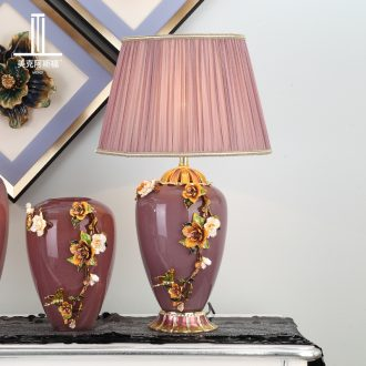 New Chinese style living room full of copper lamp type colored enamel porcelain lamp decoration of bedroom the head of a bed lamp villa lamps and lanterns