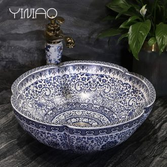 Million birds on the blue and white porcelain basin jingdezhen ceramic lavatory basin of Chinese style art basin petals round the sink