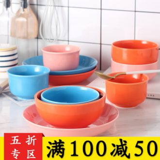 Rainbow noodle bowl bowl combined creative contracted Japanese plate of jingdezhen ceramics new lovely home to eat bread and butter