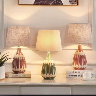 Nordic small desk lamp, lamp of bedroom the head of a bed American European ceramic contracted and contemporary sitting room warm marriage marriage room decoration