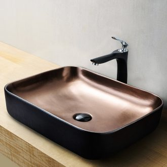 In gold black art square toilet stage basin on its outside lavatory sink basin of single household ceramics