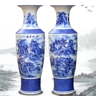Jingdezhen ceramics large ground blue and white porcelain vase landscape furnishing articles of new Chinese style hotel sitting room adornment flower arrangement