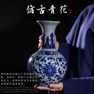 Jingdezhen blue and white porcelain vases, pottery and porcelain vase guanyao imitation antique imitation ice crack glaze blue and white porcelain home furnishing articles