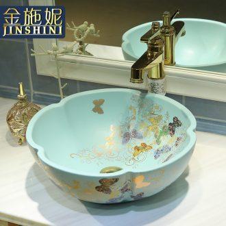 Gold cellnique jingdezhen ceramic sanitary ware art stage basin sink basin matte green golden butterfly garden