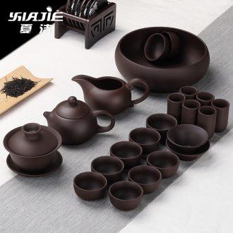 Four-walled yard violet arenaceous jingdezhen kung fu tea set combination ceramic teapot travel office