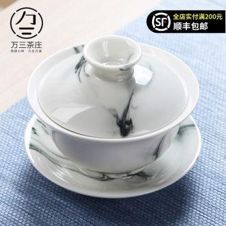 Three thousand tea tureen large three cups tureen bubble kung fu tea cups household jingdezhen hand-painted ceramic tureen