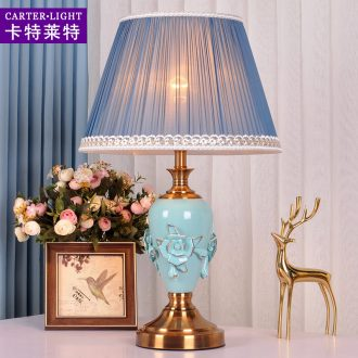 Decorative lamp contemporary and contracted American ceramic warm personality of bedroom the head of a bed warm light romantic home dimming control