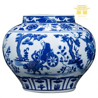 Jingdezhen ceramic vase hand-painted archaize yuan blue and white guiguzi down big pot sitting room place home decoration