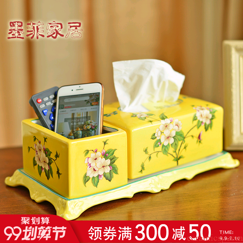 Murphy American country famille rose porcelain multi-function tissue box new Chinese style living room remote smoke box store content box