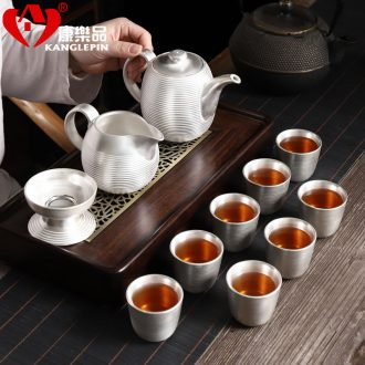 Recreational product silver tea set office sterling silver 999 household contracted purple ceramic kung fu tea cup teapot