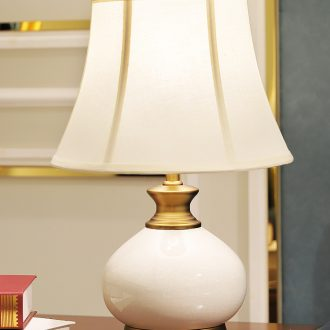 American desk lamp ceramic decoration art designer copper whole sitting room is contemporary and contracted pure color bedroom lamps and lanterns of the head of a bed