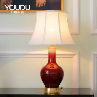 The Nordic ceramic desk lamp postmodern contracted chandeliers Jane the sitting room is the study of bedroom the head of a bed pastoral pure copper lamp