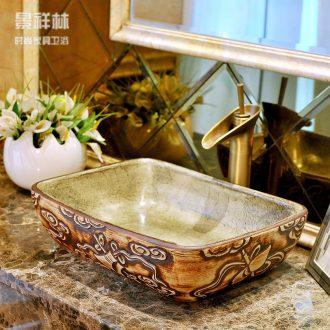 Ceramic art stage basin square toilet lavabo basin Europe type restoring ancient ways of jingdezhen lavatory basin