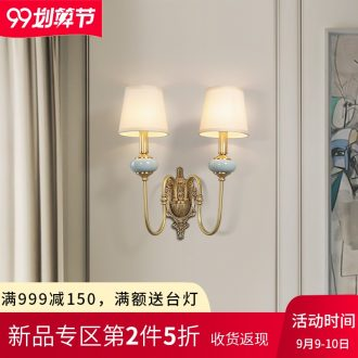 American living room wall lamp light luxury atmosphere all copper hotel villa ceramic cloth art adornment wall lamp of bedroom the head of a bed