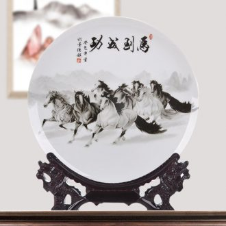 Jingdezhen ceramics decoration plate success porcelain plate of modern home decoration handicraft decoration