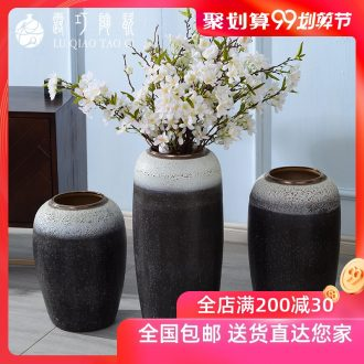 Lou qiao ground vase large Chinese style restoring ancient ways is plugged into the dried coarse pottery villa living room TV ark clay ceramic furnishing articles