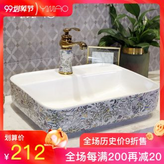 Million birds on the ceramic art basin rounded petals lavatory basin bathroom sink crack of the basin that wash a face