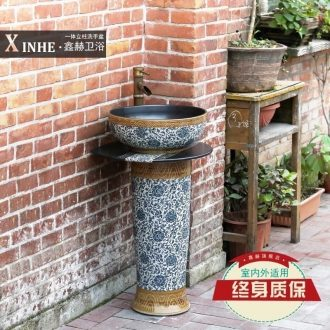 Ceramic pillar lavabo household arts balcony outdoor toilet ground integrated basin that wash a face the pool that wash a face basin