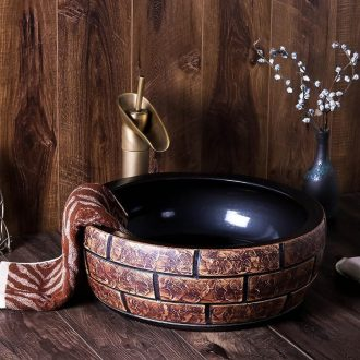 Jingdezhen ceramic sink basin on restoring ancient ways round Europe type personality hotel bathroom art dish washing basin