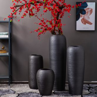 Jingdezhen ground vase flower arrangement of Chinese style hotel sitting room adornment furnishing articles company large-sized purple black frosted glass vases
