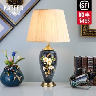 Cartel luxury colored enamel porcelain lamp type copper creative villa living room lamp of bedroom the head of a bed