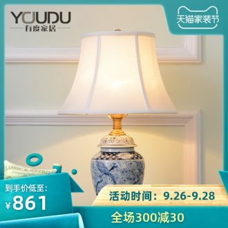 American whole copper ceramic desk lamp sitting room european-style lamp contemporary and contracted warmth of the head of a bed bedroom room decoration lamp