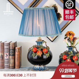 New Chinese style living room colored enamel porcelain lamp American luxury european-style creative villa lighting lamps and lanterns of bedroom the head of a bed
