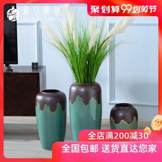 Lou qiao simulation flower furnishing articles sitting room be born by the large continental vases, ceramic creative TV ark flower decoration