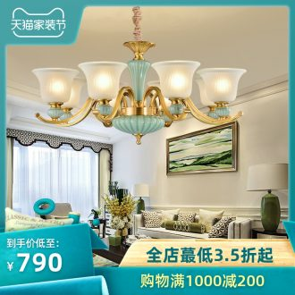American rural living room lamp ceramic all copper chandelier Mediterranean dining-room bedroom lamp double entry building european-style villa copper lamp