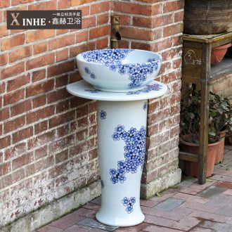 Pillar lavabo ceramics basin hand-painted porcelain bathroom toilet commode balcony ground integrated art
