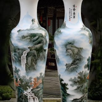 Jingdezhen ceramics antique hand-painted landscape painting home sitting room hotel adornment furnishing articles of large vase