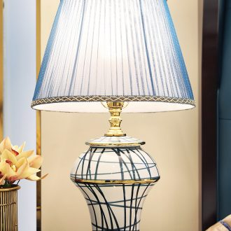 Light luxury american-style lamp decoration ceramics art design and contemporary and contracted copper whole sitting room the bedroom of the head of a bed sitting room lamps and lanterns
