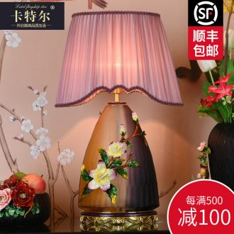 New Chinese style colored enamel lamp sitting room bedroom bedside lamp to restore ancient ways the creative study villa decoration ceramic lamp