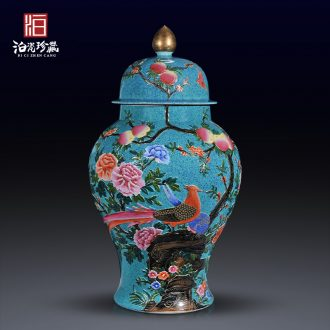 Jingdezhen ceramics archaize qing qianlong as gold glaze carving painting of flowers and the general pot of home sitting room adornment is placed