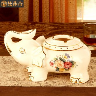 Vatican Sally's elephant european-style ashtray luxury home sitting room with cover of creative personality ceramic ashtray office